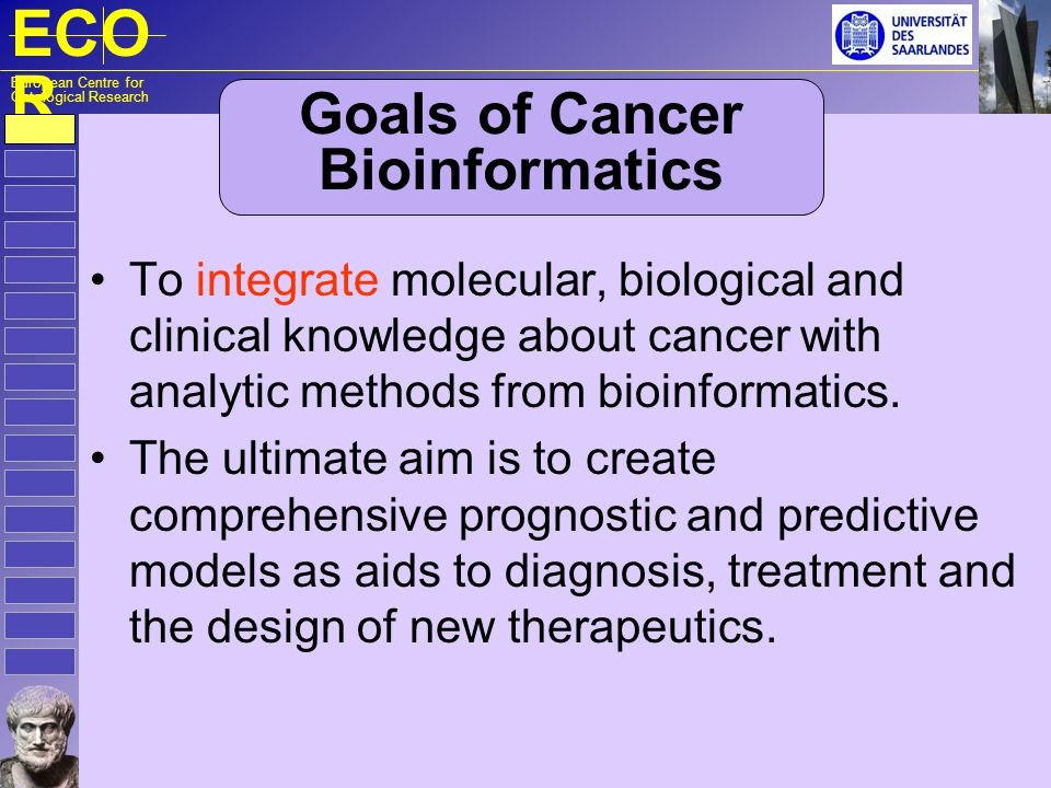 ECO R European Centre for Ontological Research Goals of Cancer Bioinformatics To integrate molecular, biological and clinical knowledge about cancer w