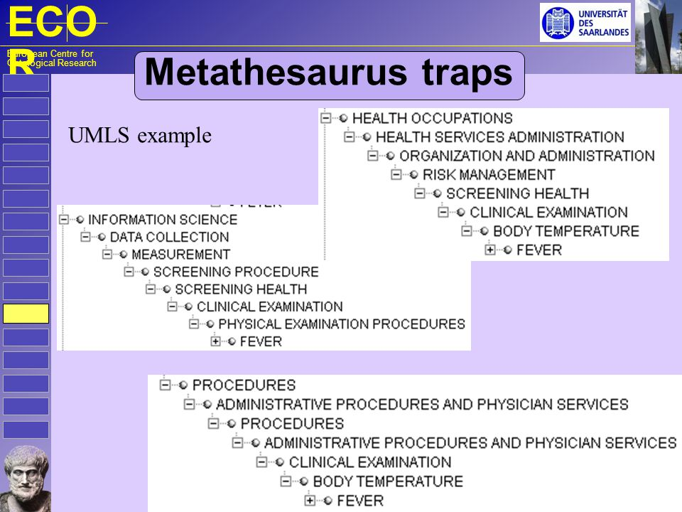 ECO R European Centre for Ontological Research Metathesaurus traps UMLS example