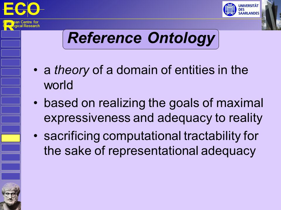 ECO R European Centre for Ontological Research Reference Ontology a theory of a domain of entities in the world based on realizing the goals of maxima
