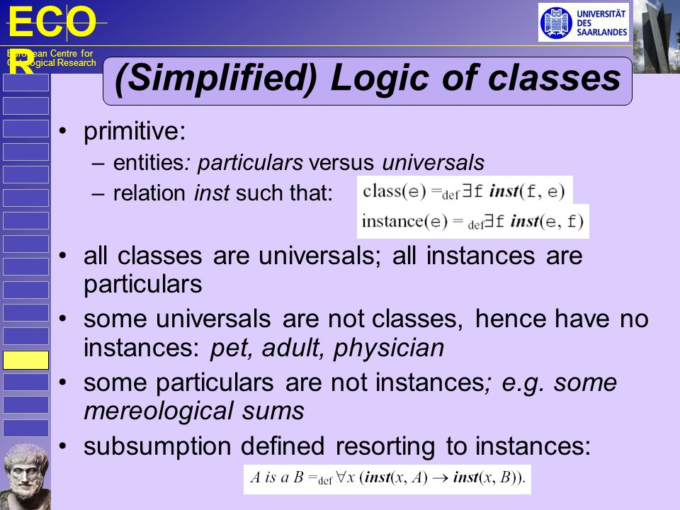 ECO R European Centre for Ontological Research (Simplified) Logic of classes primitive: – entities: particulars versus universals – relation inst such