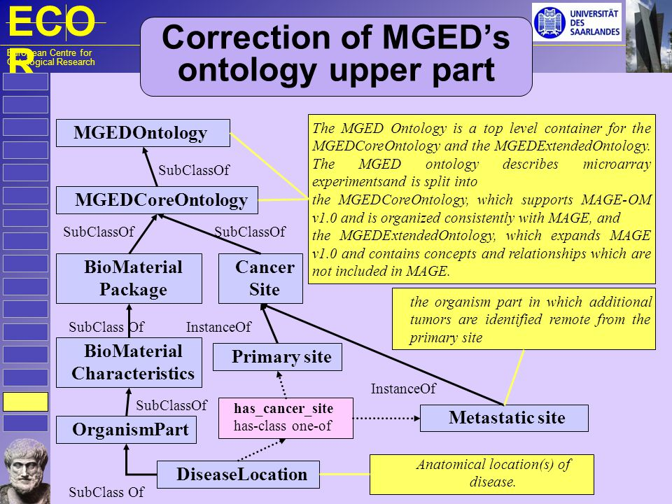 ECO R European Centre for Ontological Research Correction of MGEDs ontology upper part MGEDOntology MGEDCoreOntology The MGED Ontology is a top level