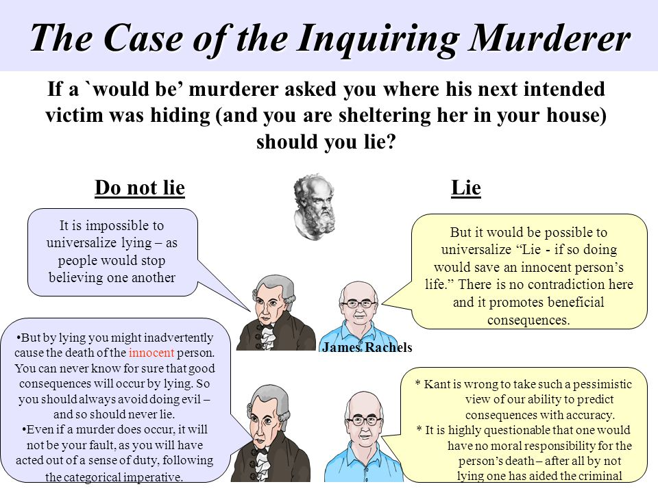 The Case of the Inquiring Murderer If a `would be murderer asked you where his next intended victim was hiding (and you are sheltering her in your hou
