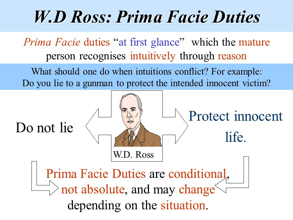W.D Ross: Prima Facie Duties Do not lie Protect innocent life. W.D. Ross Prima Facie Duties are conditional, not absolute, and may change depending on