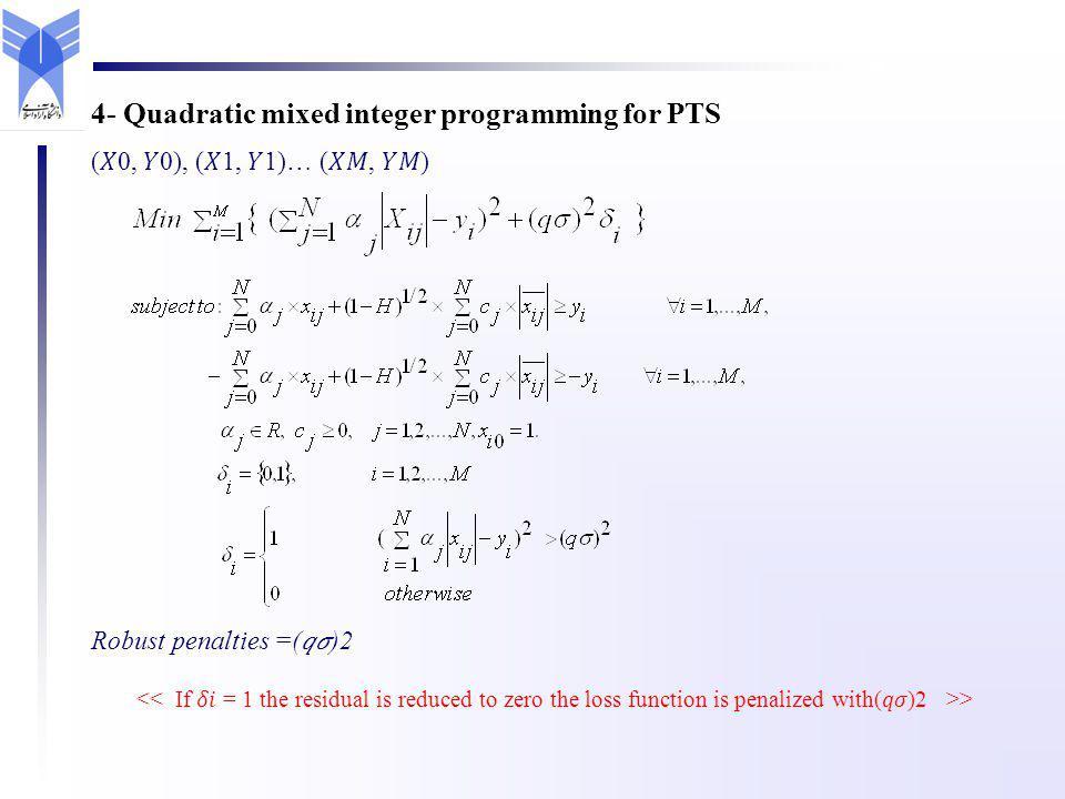 (0, 0), (1, 1)… (, ) Robust penalties =()2 > 4- Quadratic mixed integer programming for PTS