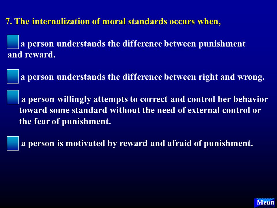Menu 6. Which of the following is the BEST characterization of the wickedness (sociopathy): A.the wicked person has a strong sense of good, but simply
