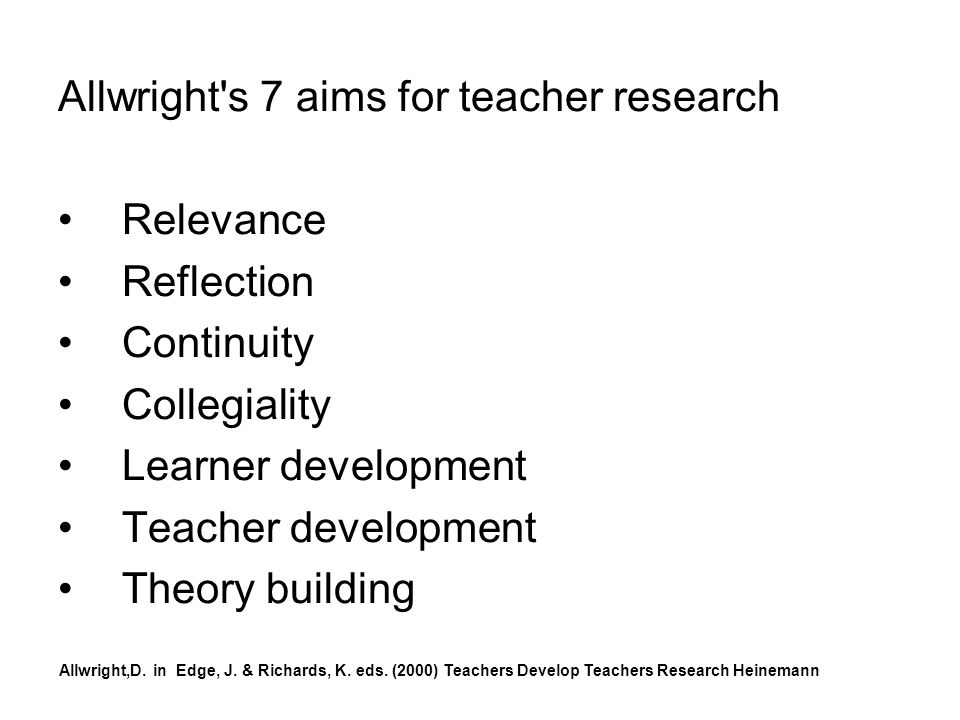 Allwright s 7 aims for teacher research Relevance Reflection Continuity Collegiality Learner development Teacher development Theory building Allwright,D.
