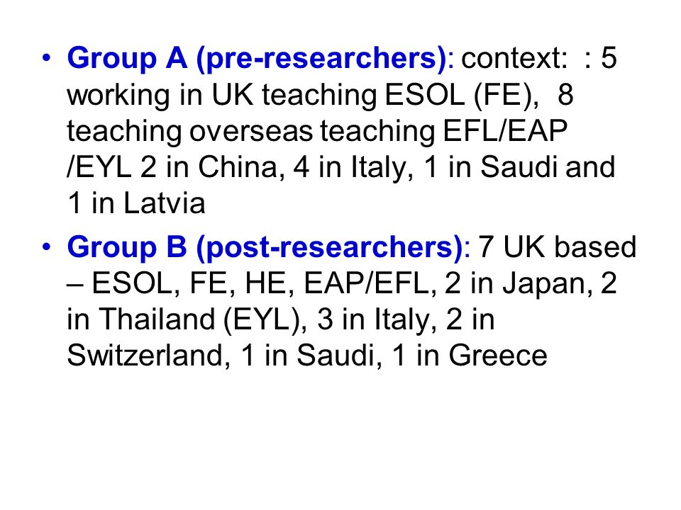 Group A (pre-researchers): context: : 5 working in UK teaching ESOL (FE), 8 teaching overseas teaching EFL/EAP /EYL 2 in China, 4 in Italy, 1 in Saudi and 1 in Latvia Group B (post-researchers): 7 UK based – ESOL, FE, HE, EAP/EFL, 2 in Japan, 2 in Thailand (EYL), 3 in Italy, 2 in Switzerland, 1 in Saudi, 1 in Greece
