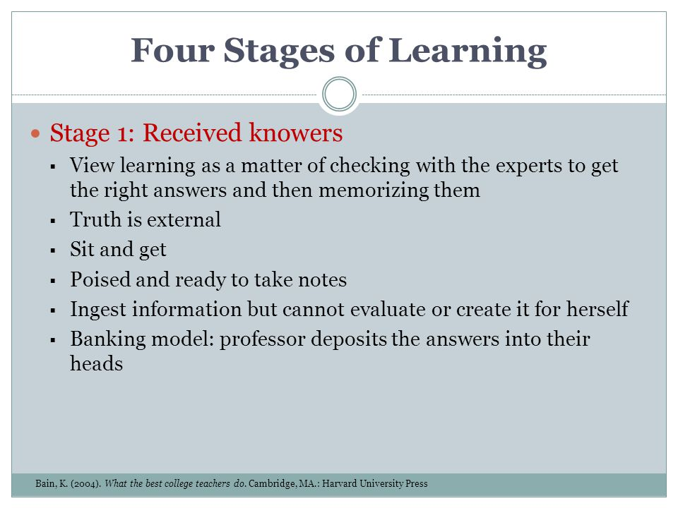 Four Stages of Learning Stage 1: Received knowers View learning as a matter of checking with the experts to get the right answers and then memorizing