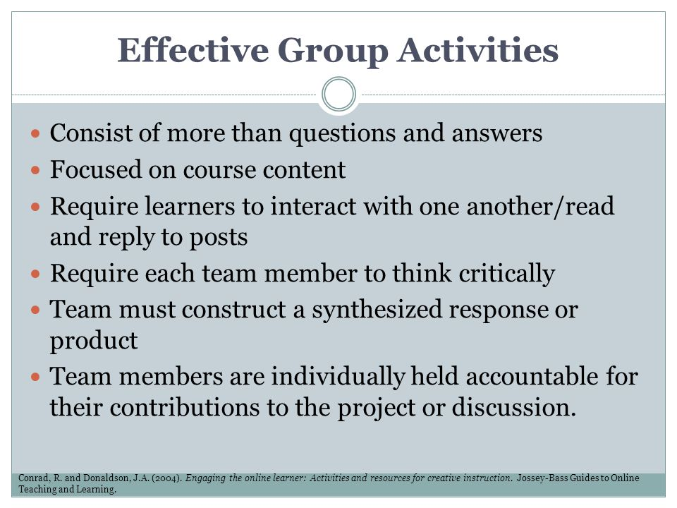 Effective Group Activities Consist of more than questions and answers Focused on course content Require learners to interact with one another/read and