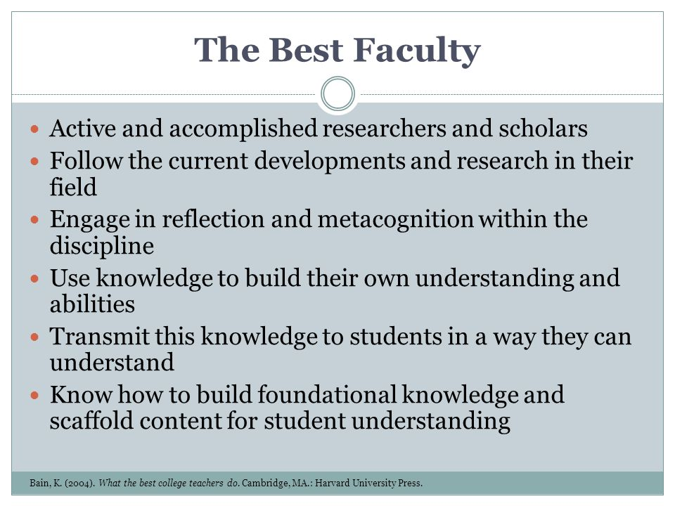 The Best Faculty Active and accomplished researchers and scholars Follow the current developments and research in their field Engage in reflection and