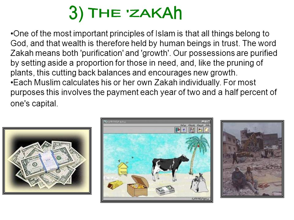 One of the most important principles of Islam is that all things belong to God, and that wealth is therefore held by human beings in trust. The word Z