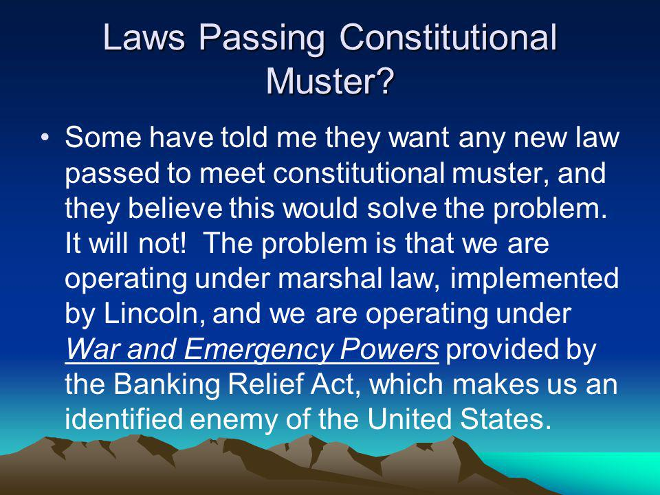 Laws Passing Constitutional Muster? Some have told me they want any new law passed to meet constitutional muster, and they believe this would solve th