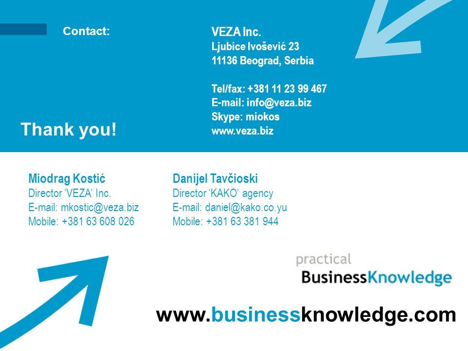Contact: Thank you! www.businessknowledge.com VEZA Inc. Ljubice Ivošević 23 11136 Beograd, Serbia Tel/fax: +381 11 23 99 467 E-mail: info@veza.biz Sky