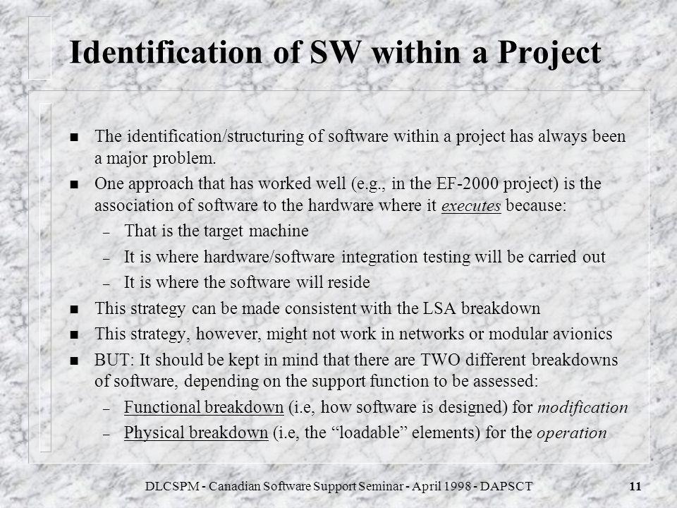 DLCSPM - Canadian Software Support Seminar - April 1998 - DAPSCT10 Outline of a SAS Analysis Software Identification & Breakdown Categorisation Evalua