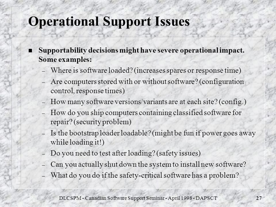 DLCSPM - Canadian Software Support Seminar - April 1998 - DAPSCT26 Analysis for Operational Support n Unfortunately, there are no standards for Operat