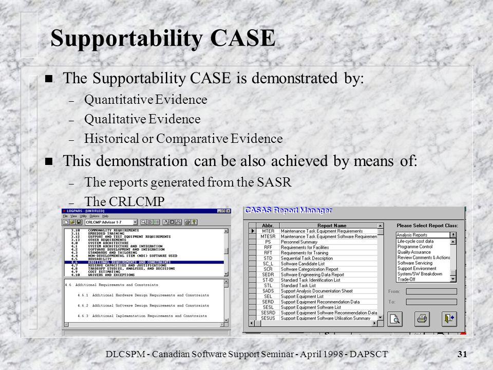 DLCSPM - Canadian Software Support Seminar - April 1998 - DAPSCT30 Establishment of the Support Concept, CRLCMP n The Support Concept provides the glo