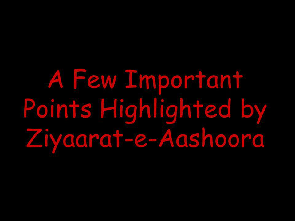 A Few Important Points Highlighted by Ziyaarat-e-Aashoora