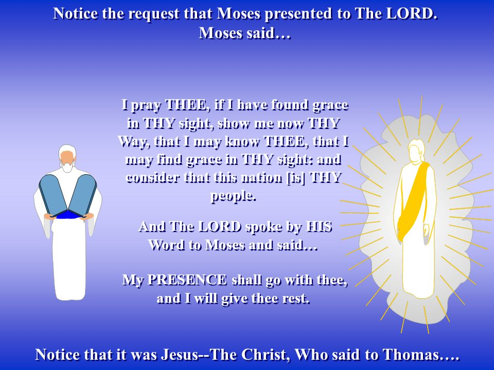 Notice the request that Moses presented to The LORD. Moses said… Notice the request that Moses presented to The LORD. Moses said… Notice that it was J