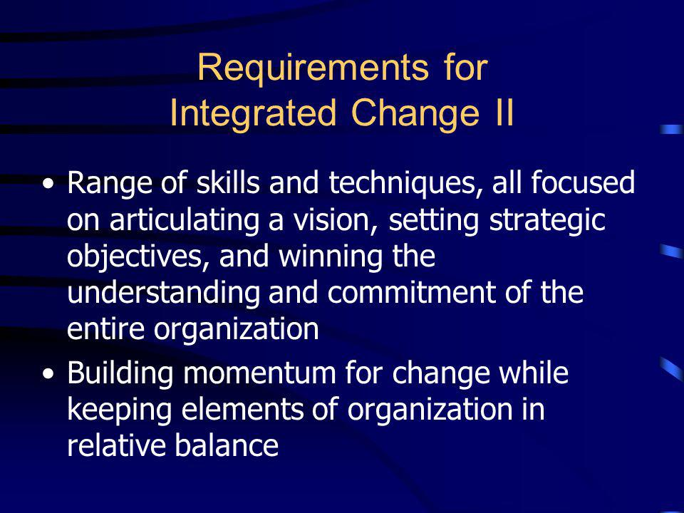 Requirements for Integrated Change I Turning status quo on its ear New styles of leadership, rather than traditional command and control and rigid hie