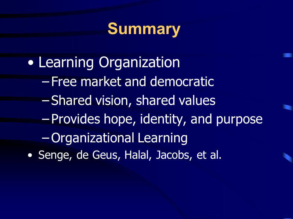 Summary Four Aspects of Change –Nature and Sources of Change –How to Implement change –How to manage change –Nature of the Organization to Deal with C