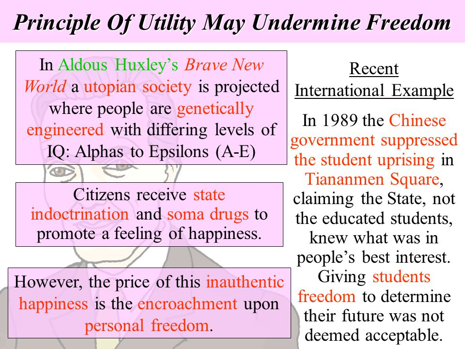 Principle Of Utility May Undermine Freedom Recent International Example In 1989 the Chinese government suppressed the student uprising in Tiananmen Sq