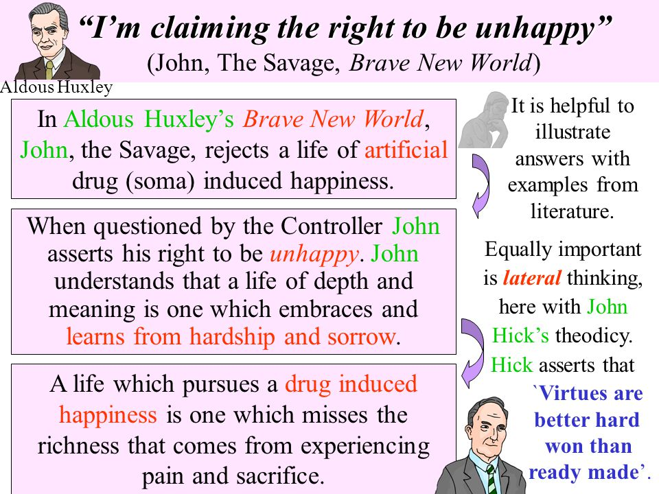 Im claiming the right to be unhappyIm claiming the right to be unhappy (John, The Savage, Brave New World) In Aldous Huxleys Brave New World, John, th