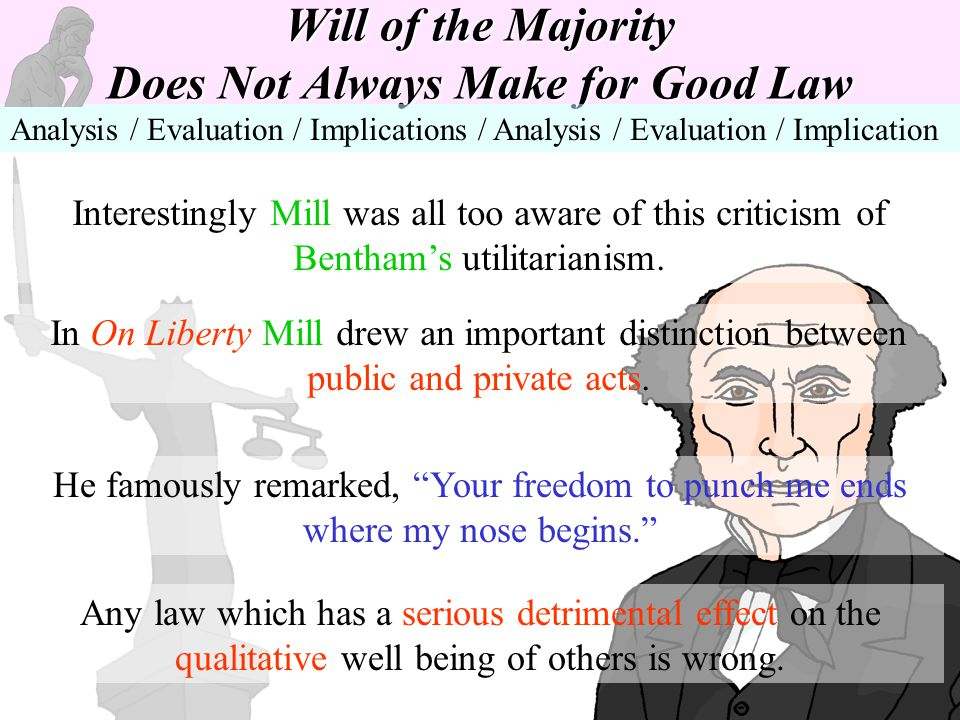 Will of the Majority Does Not Always Make for Good Law Analysis / Evaluation / Implications / Analysis / Evaluation / Implication Interestingly Mill w