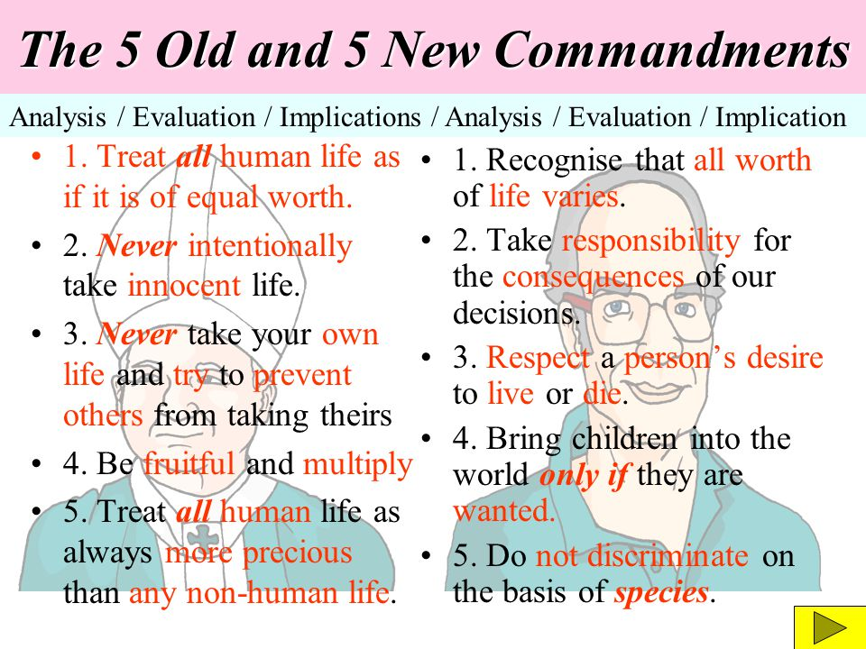The 5 Old and 5 New Commandments Analysis / Evaluation / Implications / Analysis / Evaluation / Implication 1. Treat all human life as if it is of equ