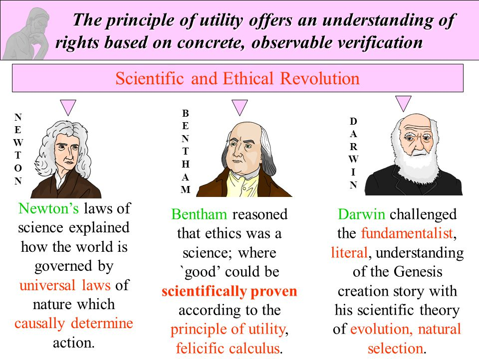 The principle of utility offers an understanding of rights based on concrete, observable verification Scientific and Ethical Revolution Darwin challen