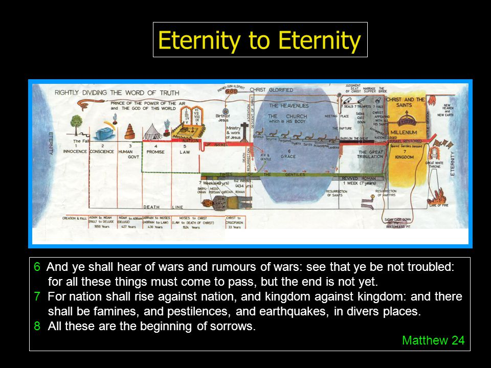 Eternity to Eternity 6 And ye shall hear of wars and rumours of wars: see that ye be not troubled: for all these things must come to pass, but the end is not yet.