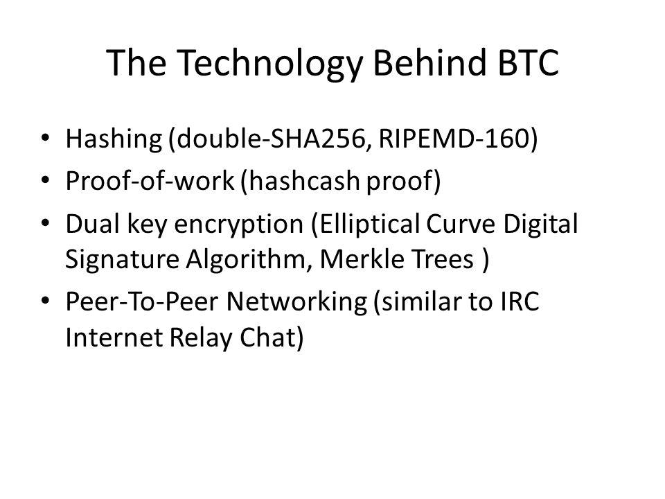 The Technology Behind BTC Hashing (double-SHA256, RIPEMD-160) Proof-of-work (hashcash proof) Dual key encryption (Elliptical Curve Digital Signature A