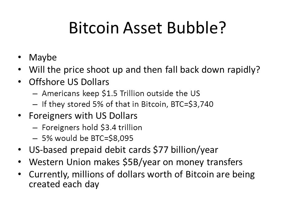 Bitcoin Asset Bubble? Maybe Will the price shoot up and then fall back down rapidly? Offshore US Dollars – Americans keep $1.5 Trillion outside the US