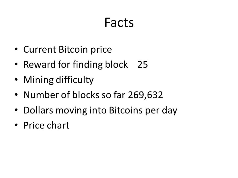 Facts Current Bitcoin price Reward for finding block 25 Mining difficulty Number of blocks so far 269,632 Dollars moving into Bitcoins per day Price c