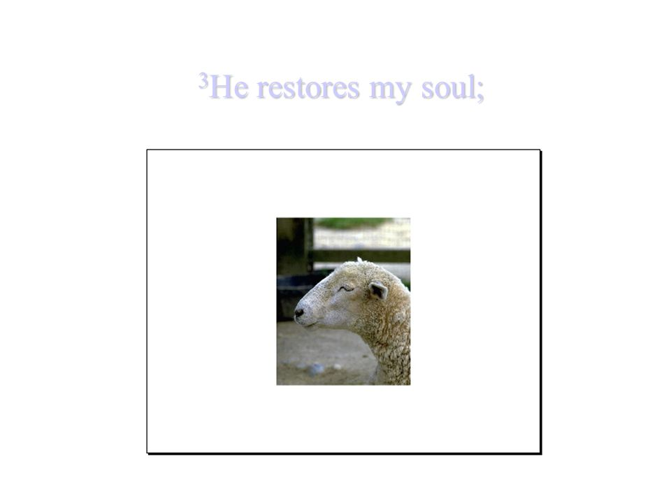 3 He restores my soul;