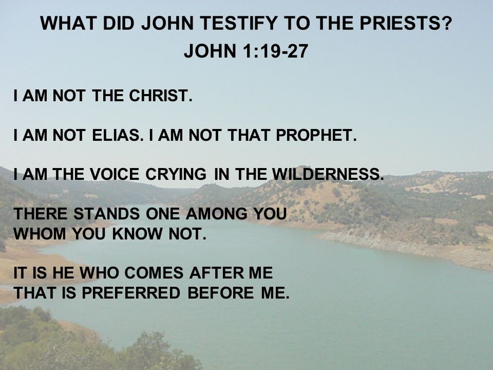 WHAT DID JOHN TESTIFY TO THE PRIESTS? JOHN 1:19-27 I AM NOT THE CHRIST. I AM NOT ELIAS. I AM NOT THAT PROPHET. I AM THE VOICE CRYING IN THE WILDERNESS