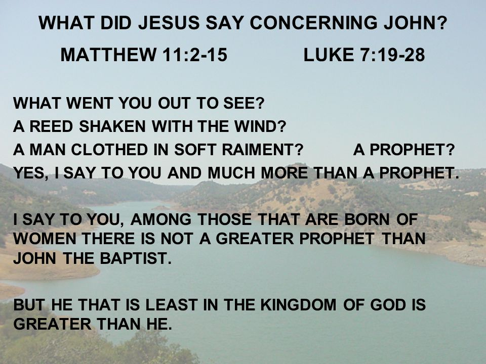 WHAT DID JESUS SAY CONCERNING JOHN? MATTHEW 11:2-15LUKE 7:19-28 WHAT WENT YOU OUT TO SEE? A REED SHAKEN WITH THE WIND? A MAN CLOTHED IN SOFT RAIMENT?A