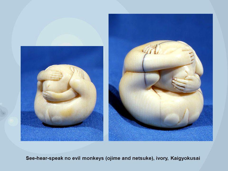 See-hear-s peak no evil monkeys (ojime and netsuke), ivory, Kaigyokusa i