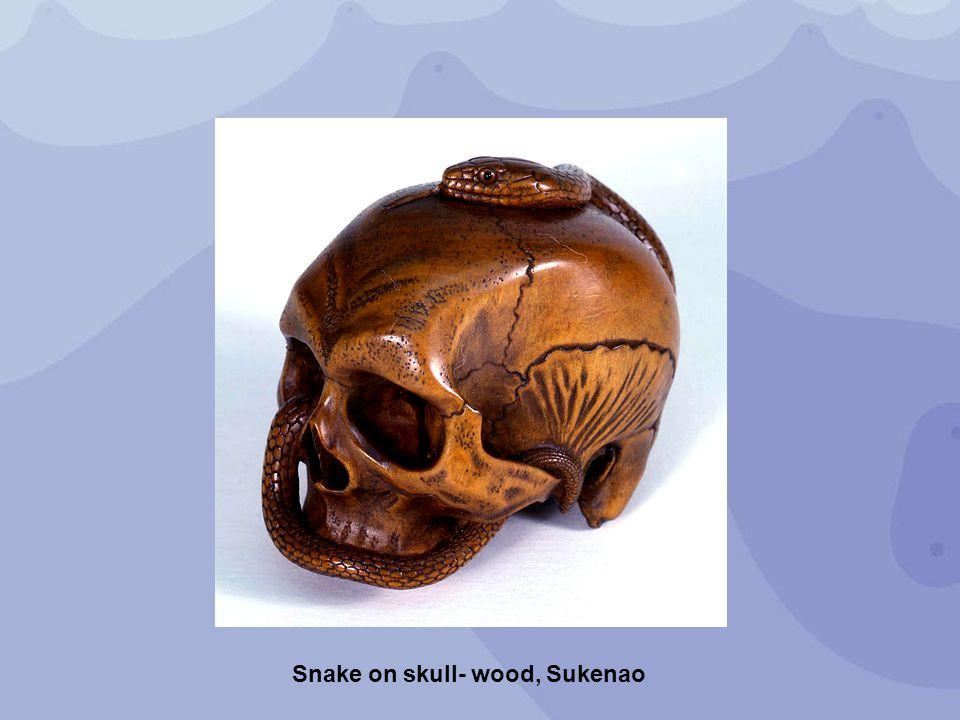 Snake on skull- wood, Sukenao