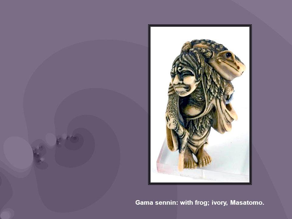 Gama sennin: with frog; ivory, Masatomo.