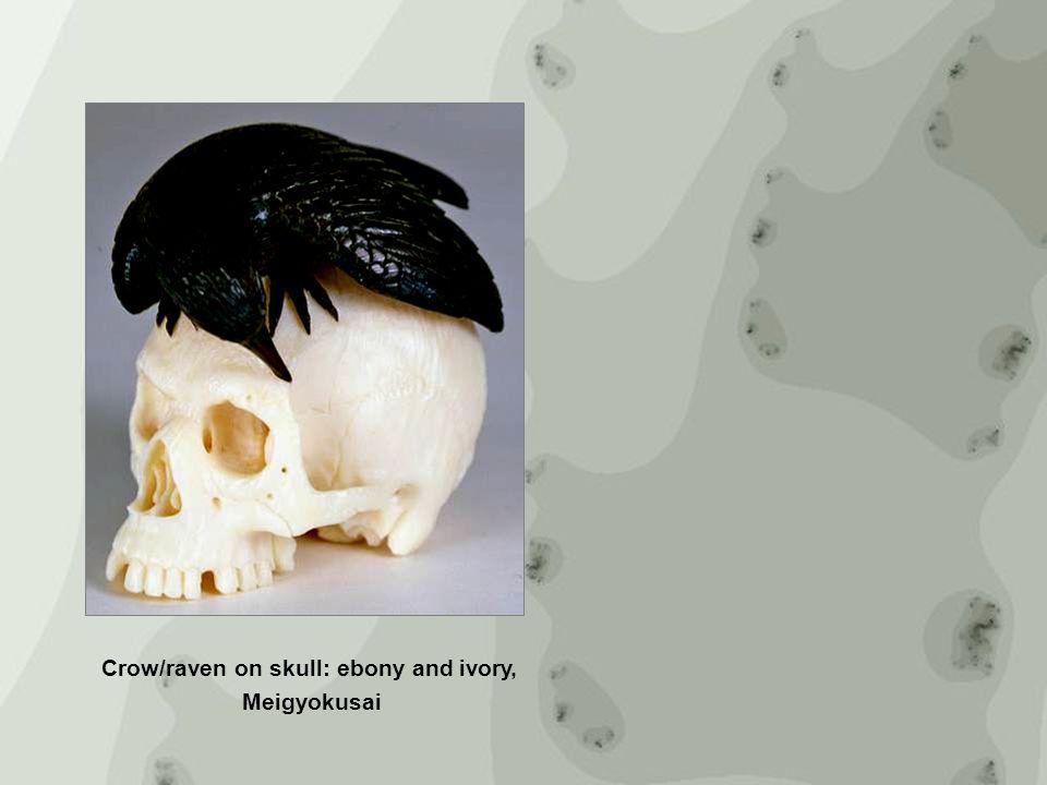 Crow/raven on skull: ebony and ivory, Meigyokusa i