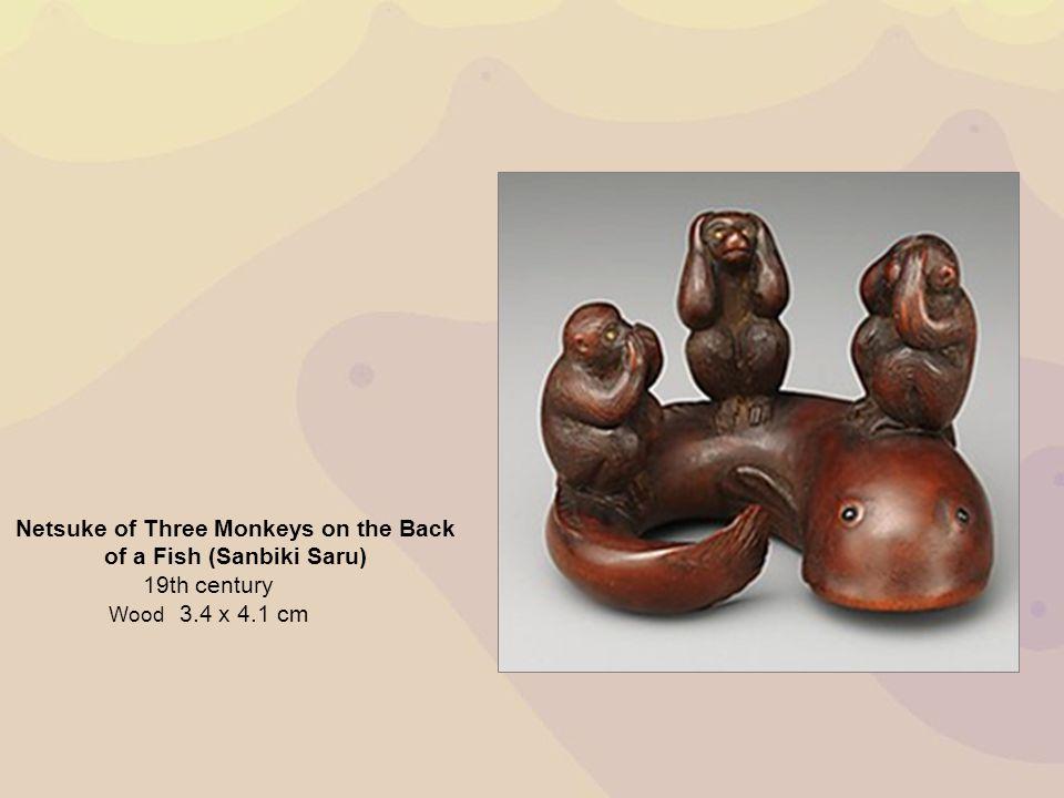 Netsuke of Three Monkeys on the Back of a Fish (Sanbiki Saru) 19th century Wood 3.4 x 4.1 cm