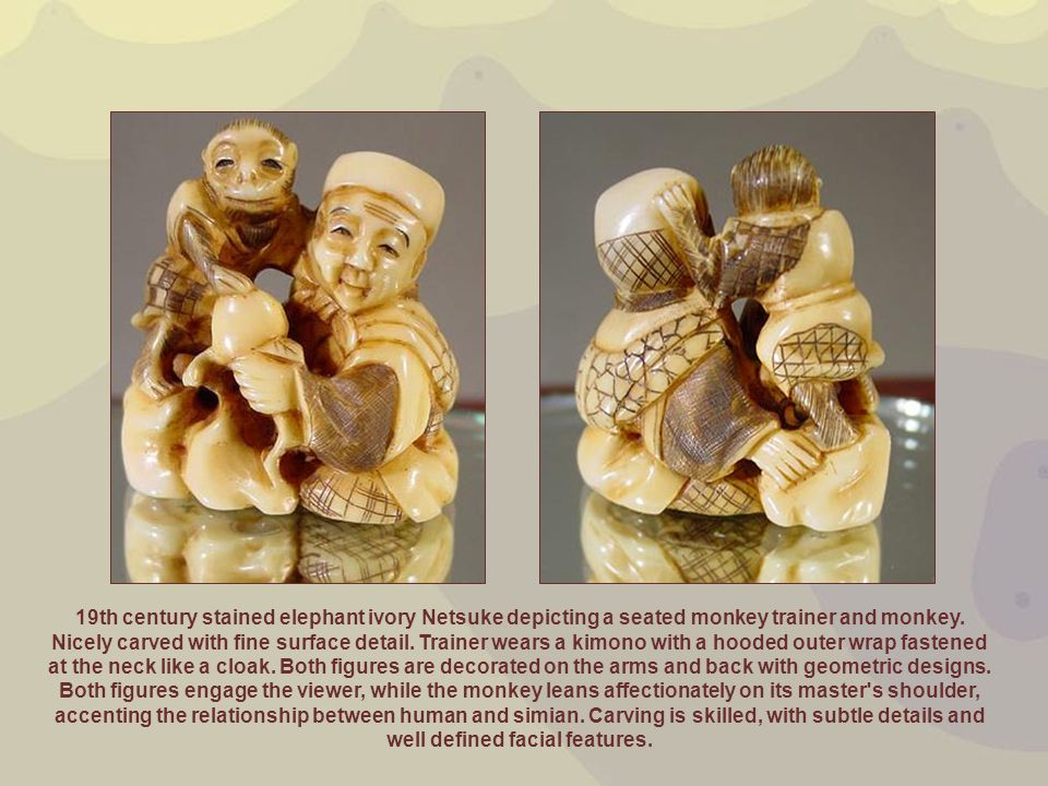 19th century stained elephant ivory Netsuke depicting a seated monkey trainer and monkey. Nicely carved with fine surface detail. Trainer wears a kimo