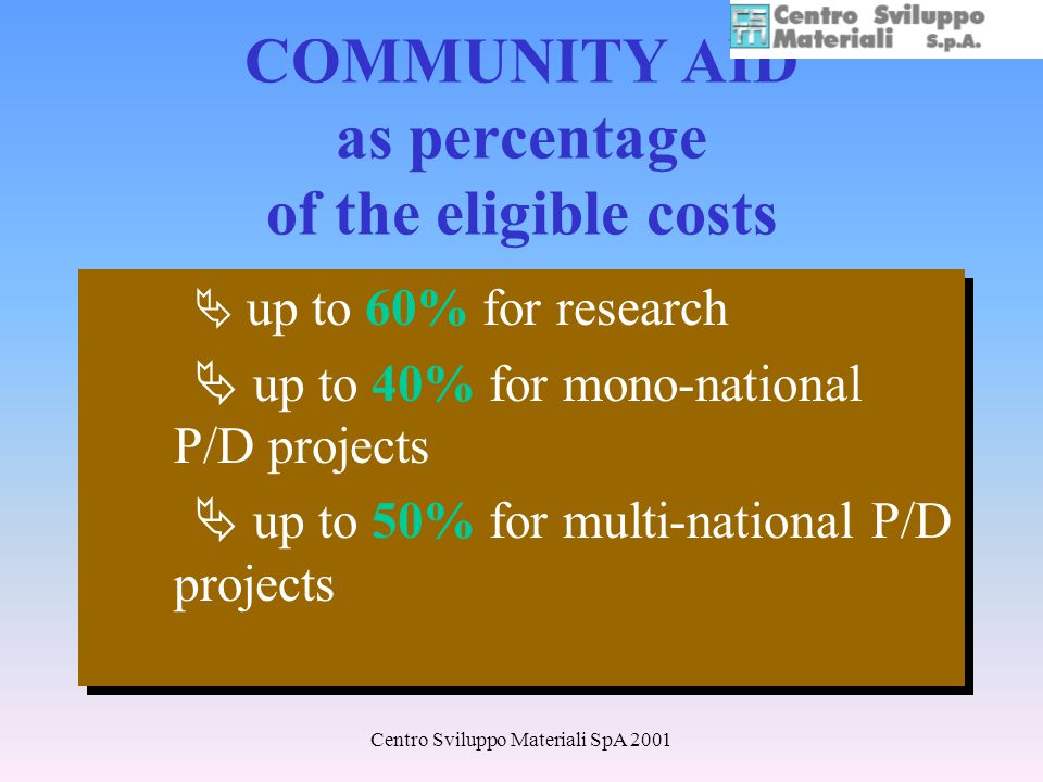 Centro Sviluppo Materiali SpA 2001 COMMUNITY AID as percentage of the eligible costs up to 60% for research up to 40% for mono-national P/D projects up to 50% for multi-national P/D projects up to 60% for research up to 40% for mono-national P/D projects up to 50% for multi-national P/D projects
