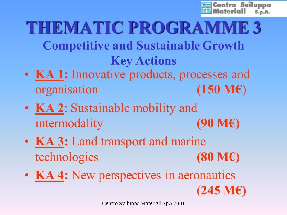 Centro Sviluppo Materiali SpA 2001 THEMATIC PROGRAMME 3 THEMATIC PROGRAMME 3 Competitive and Sustainable Growth Key Actions KA 1: Innovative products, processes and organisation (150 M) KA 2: Sustainable mobility and intermodality (90 M) KA 3: Land transport and marine technologies (80 M) KA 4: New perspectives in aeronautics (245 M)
