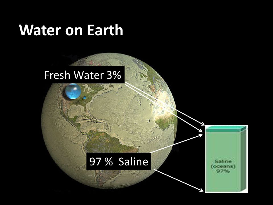 Water on Earth Fresh Water 3% 97 % Saline