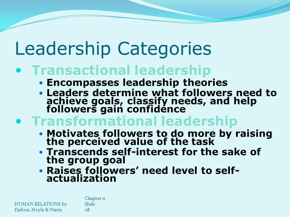 HUMAN RELATIONS by Dalton, Hoyle & Watts Chapter 11 Slide 28 Leadership Categories Transactional leadership Encompasses leadership theories Leaders determine what followers need to achieve goals, classify needs, and help followers gain confidence Transformational leadership Motivates followers to do more by raising the perceived value of the task Transcends self-interest for the sake of the group goal Raises followers need level to self- actualization