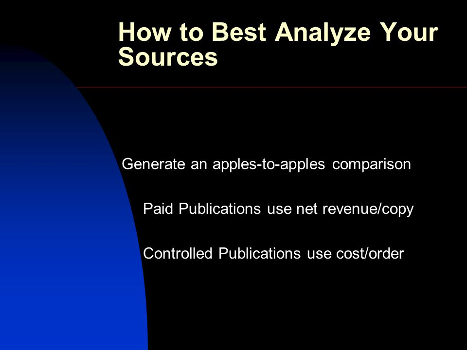 How to Best Analyze Your Sources Generate an apples-to-apples comparison Paid Publications use net revenue/copy Controlled Publications use cost/order