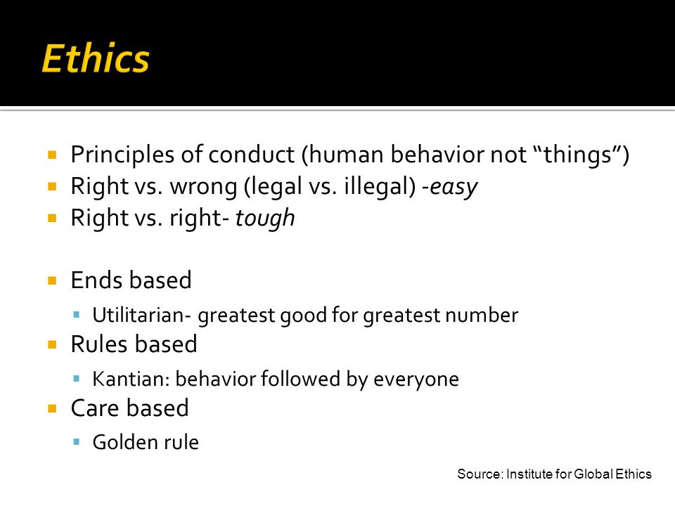 Principles of conduct (human behavior not things) Right vs.