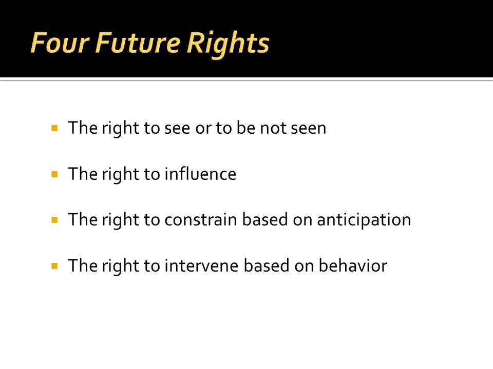 The right to see or to be not seen The right to influence The right to constrain based on anticipation The right to intervene based on behavior