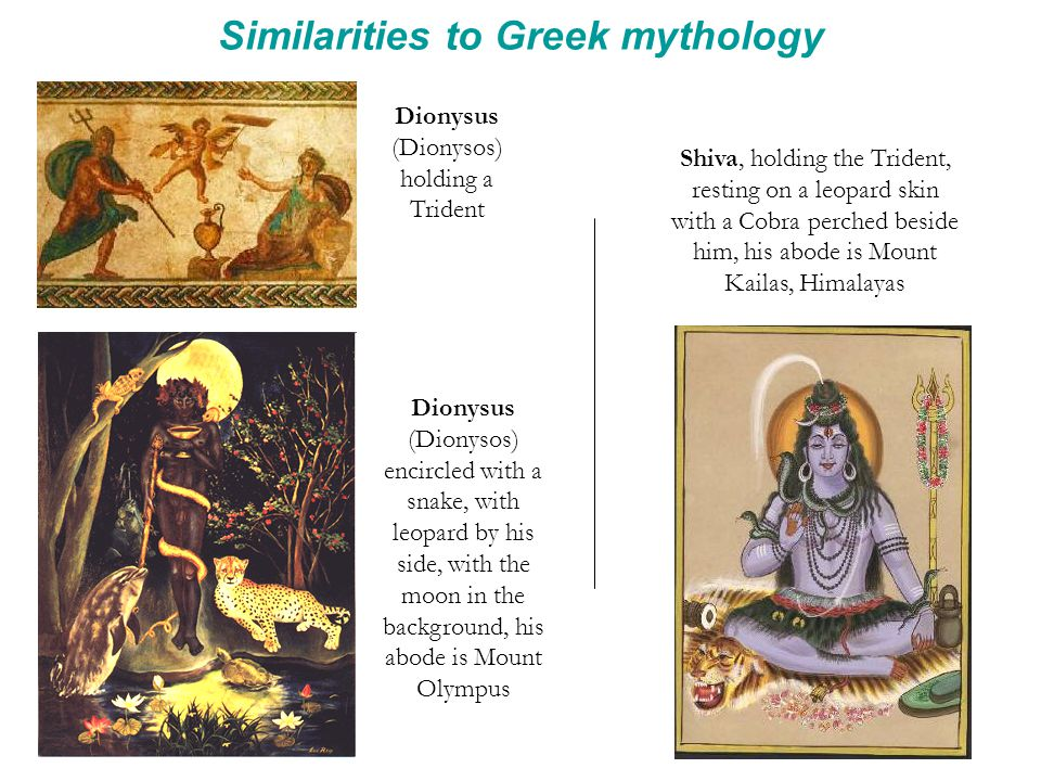 Similarities to Greek mythology Dionysus (Dionysos) holding a Trident Shiva, holding the Trident, resting on a leopard skin with a Cobra perched besid